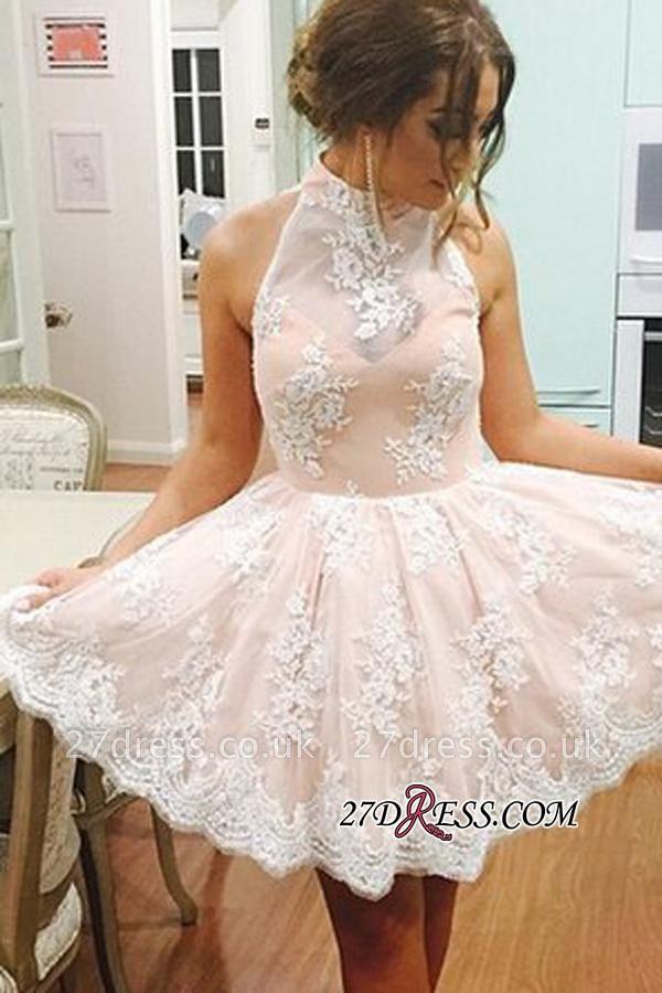 Lace Lovely High-Neck Short Sleeveless Homecoming Dress UK BA3646