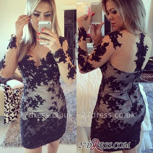 Mini Long-Sleeve Elegant Bodycon Lace-Appliques Homecoming Dress UK BA7900