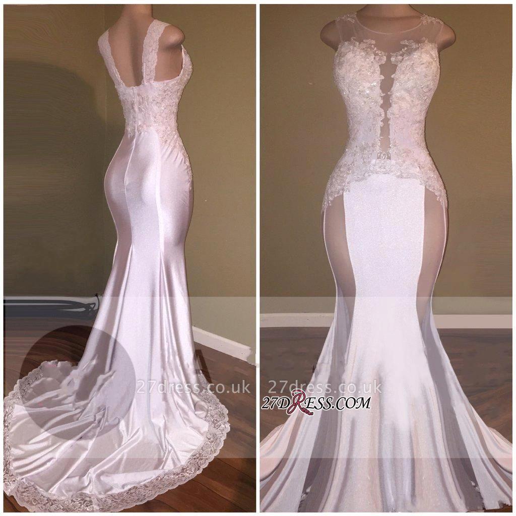 Sheer Lace White Beading Appliques Glossy Elegant Mermaid Prom Dress UKes UK