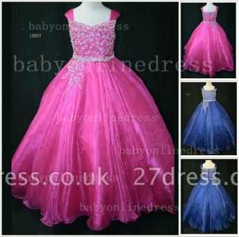 Flower Beaded Ball Gown Dresses for Girls Wholesale Beautiful Junior Pageant Organza Gowns for Sale