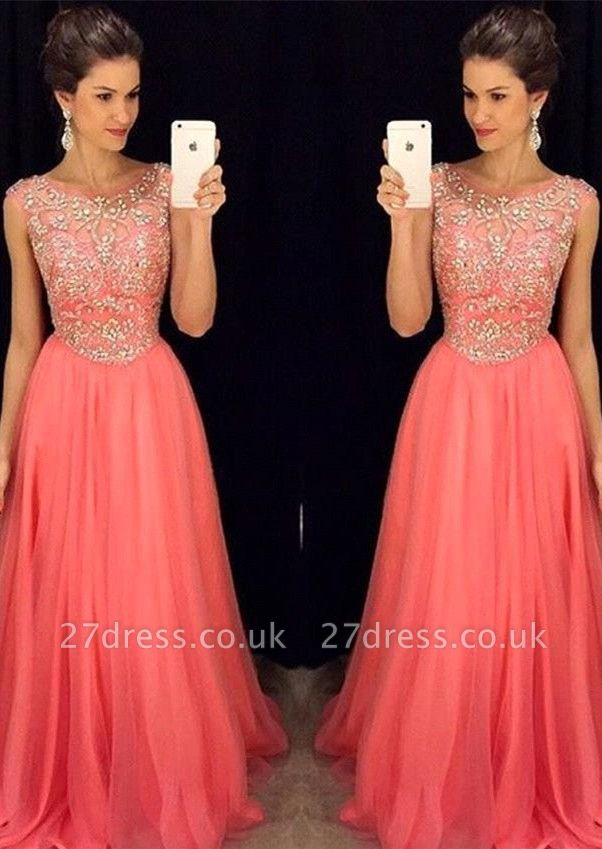 Newest Crystal Jewel Prom Dress UK A-line Sleeveless AP0