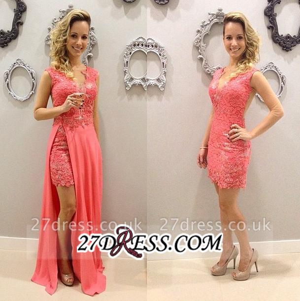 Short Lace Chffion Sexy V-neck Train Sleeveless Detachable Pink Evening Dress UKes UK BA3528