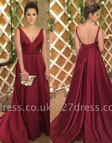 Backless V-Neck Burgundy Sleeveless Satin Evening Dress UK