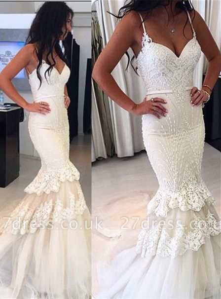 Delicate White  Sexy Mermaid Ruffles Wedding Dress | Lace Beads Bridal Gown