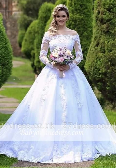 Lace Long-Sleeve Button Princess Zipper Wedding Dress
