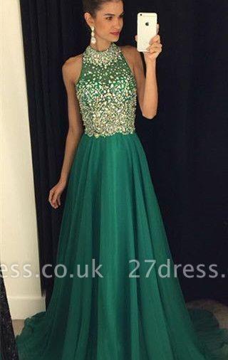 Luxury Crystals Halter Sleeveless Prom Dress UK A-line Sweep Train AP0