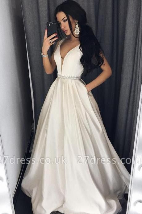Sexy V-Neck Evening Dress UK Sleeveless Party Dress UK