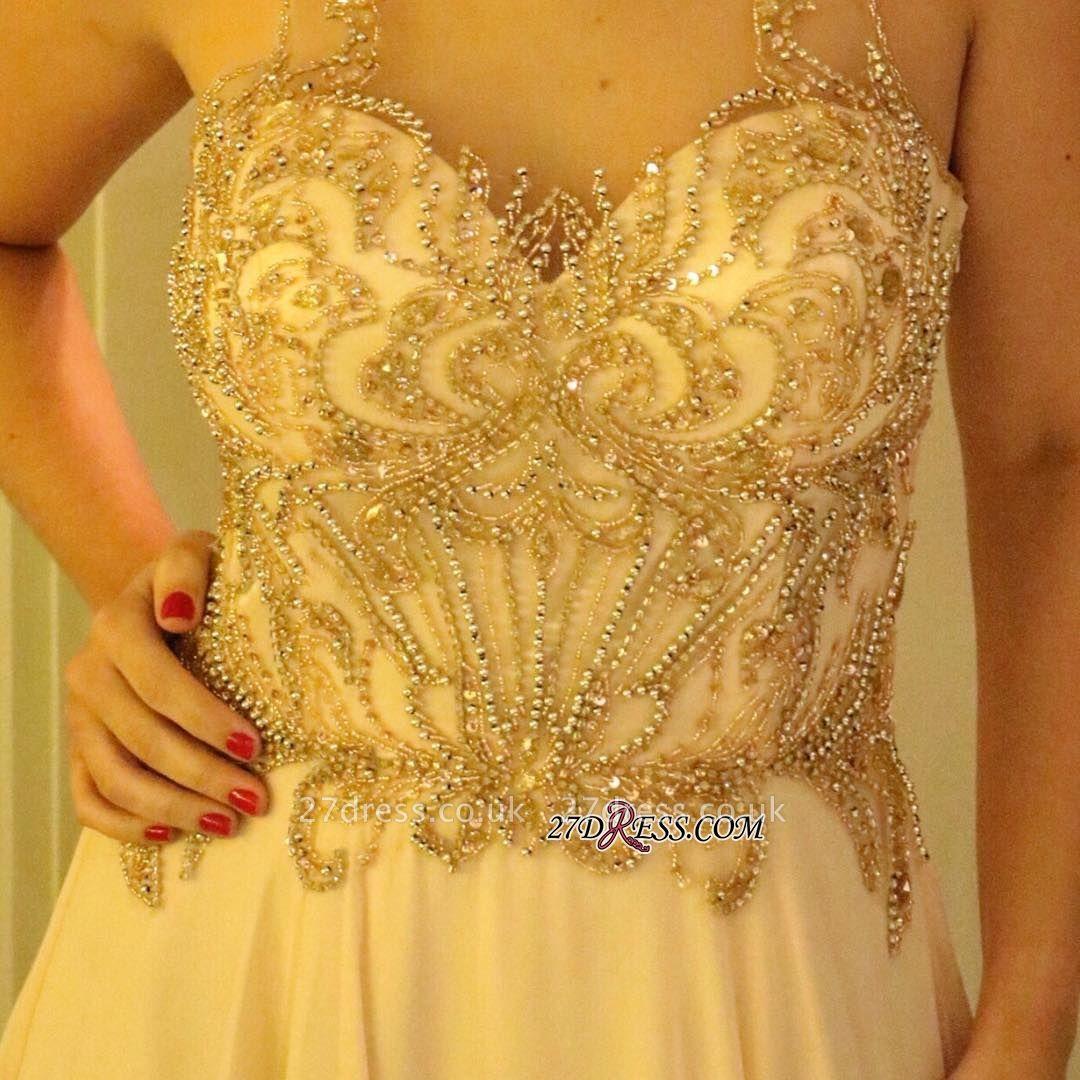 Long chiffon prom Dress UK, evening Dress UK with beads