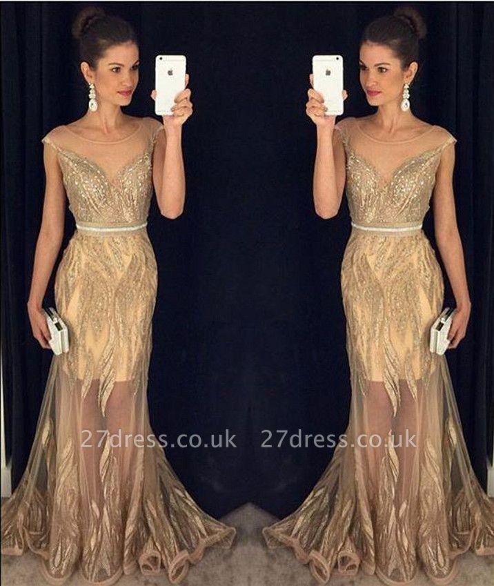 Elegant Scoop Sleeveless Beadings Prom Dress UK Mermaid Sheer Party Gown BA9147