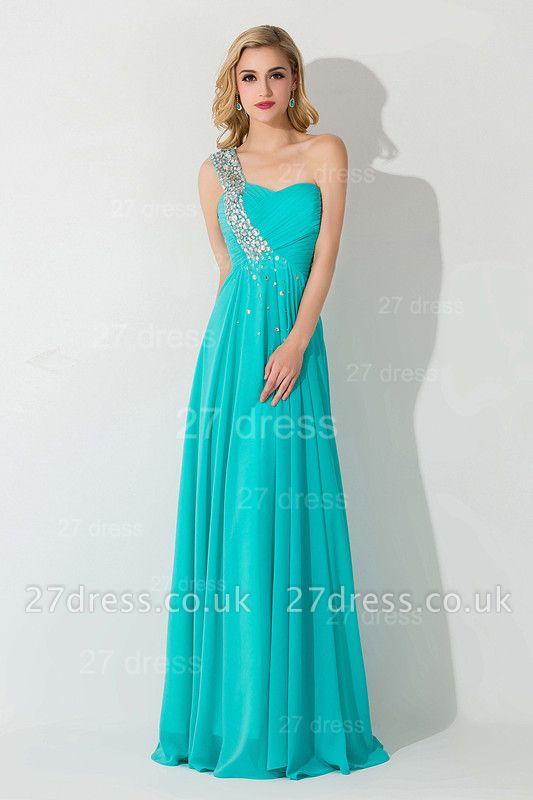 Modern One Shoulder Chiffon Evening Dress UK A-line Crystals Lace-up