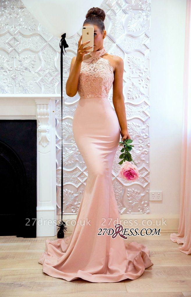Halter Sexy Lace Mermaid Applique Sweep Train Prom Dress UK BA7727