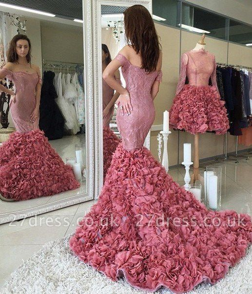 Gorgeous Off-the-shoulder Lace Prom Dress UKes UK Mermaid Ruffles Party Gowns