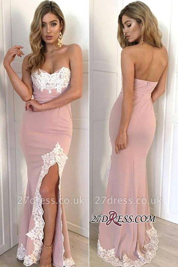 Luxury Split Appliques Lace Mermaid Long Sweetheart Prom Dress UK