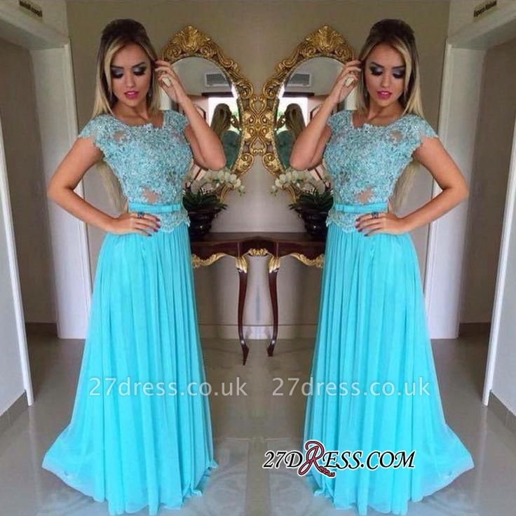 Appliques Chiffon Scoop Short-Sleeves A-Line Prom Dress UK