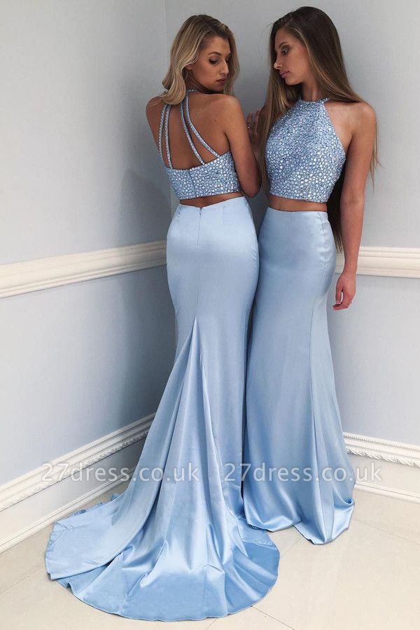Sexy Halter Two Piece Prom Dress UK Mermaid Long With Crystals BA7677