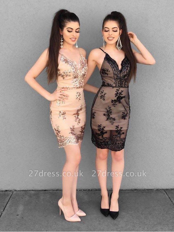 Sheath Bodycon Spaghetti Straps Lace Appliqued Homecoming Dress UK