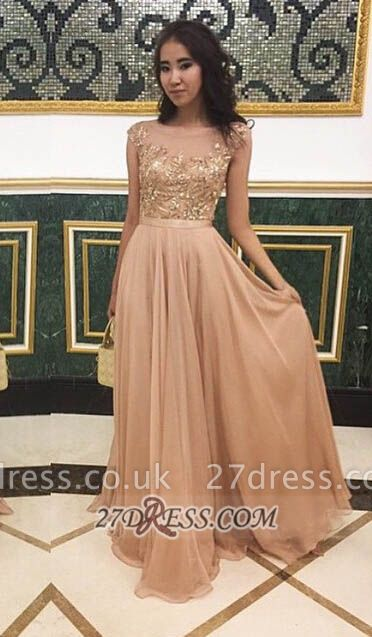 Sexy Jewel Cap Sleeve Evening Dress UK Chiffon Floor-length Appliques Prom Gown
