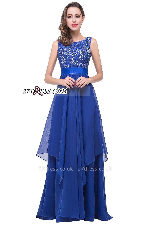 Delicate Chiffon Lace Royal Blue Prom Dress UK A-line Zipper Jewel