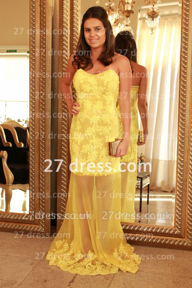 Applique Long Lace Prom Dress UKes UK with Vestidos De Fiesta Yellow Gowns for Evenings Sweetheart Mermaid Prom