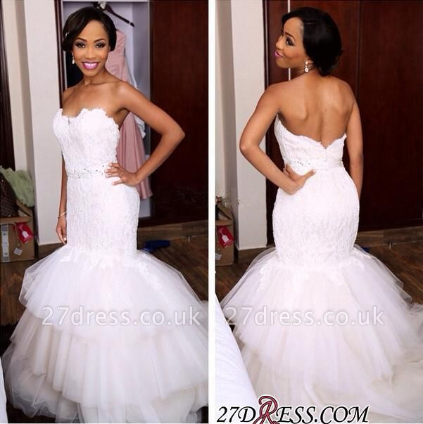 Tiered Tulle Sweetheart Appliques Newest Crystal Sexy Mermaid Wedding Dress