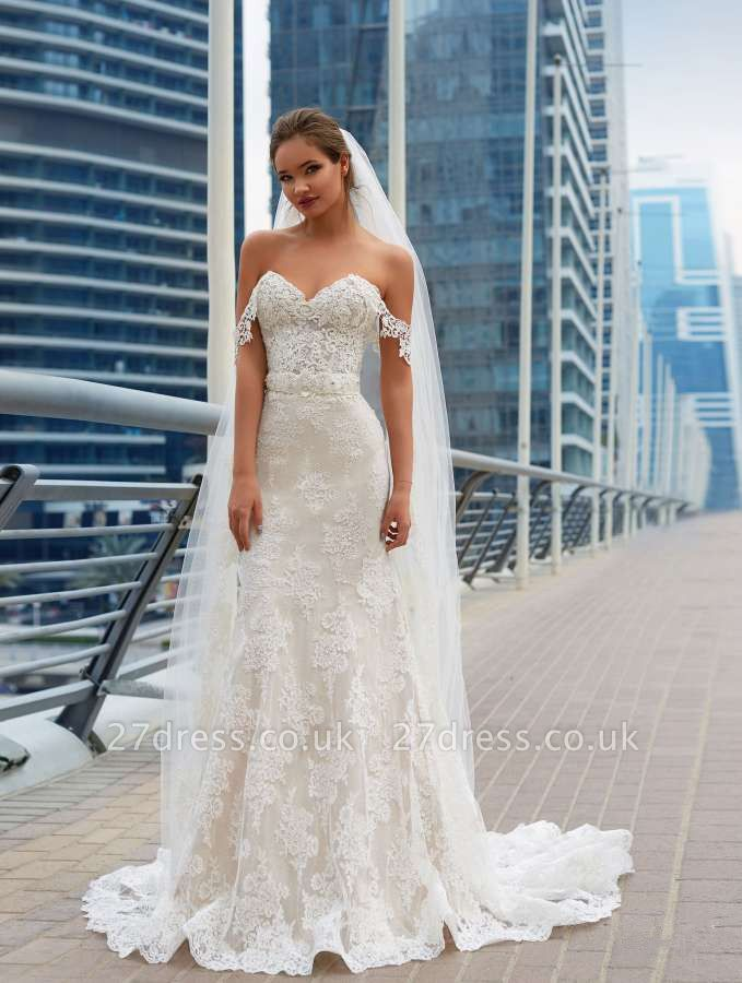Elegant Off-the-Shoulder Wedding Dress Sweetheart With Lace Sexy Mermaid Bridal Gowns