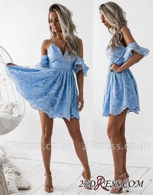 V-neck Short A-line Homecoming Dress UK Blue Cute Lace Cocktial Dress UK BA6998
