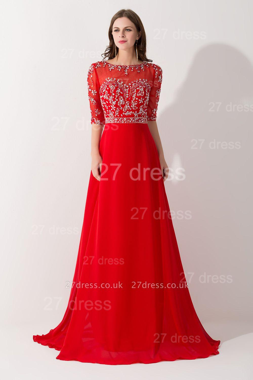 Gorgeous Red Half Sleeve Evening Dress UK Chiffon Beadings