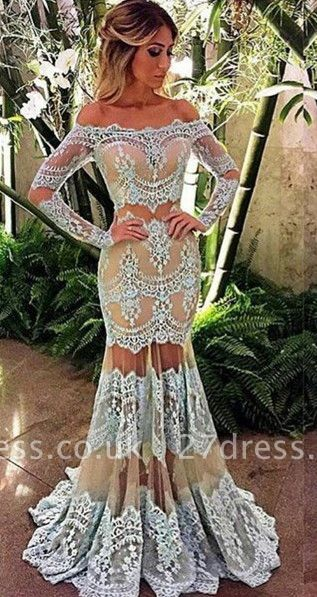Elegant off-the-Shoulder Long Sleeve Prom Dress UK Mermaid Lace Sheer Skirt Party Gowns BA4074