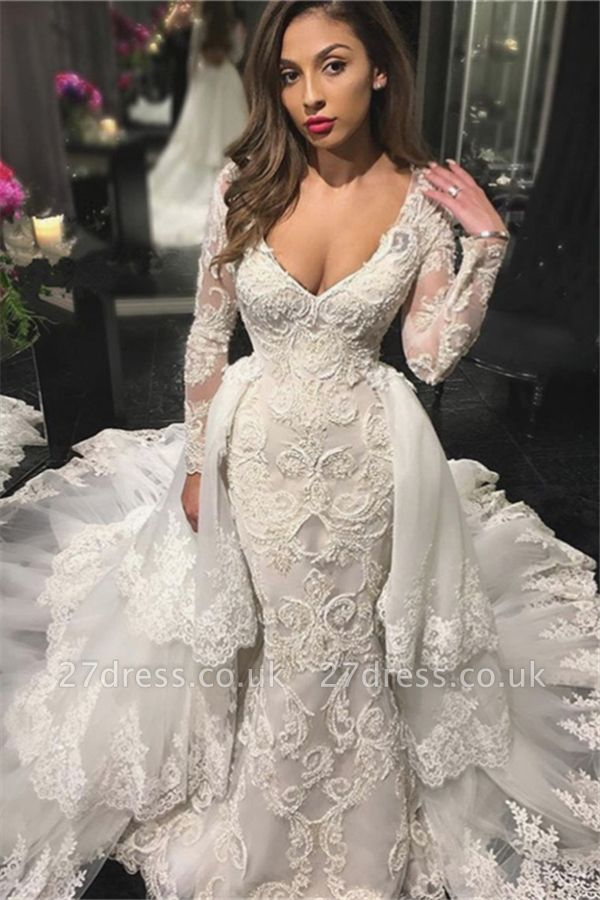 V-neck Beads Appliques Wedding Dresses UK with Sleeves |  Sexy Mermaid Overskirt Bride Dresses Cheap