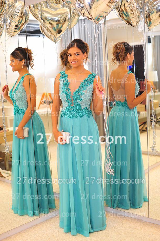 De Long Blue Lace Prom Dress UK Lindo Vstidos Womens Evening Party Gowns Applique Beading Chiffon