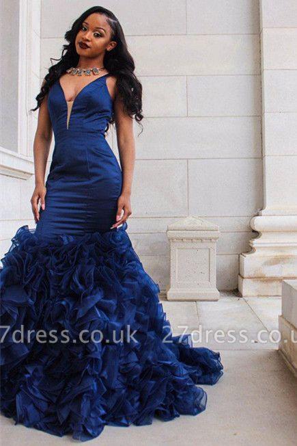 V-Neck Prom Dress UK | Ruffles Mermaid Evening Dress UK BA8435