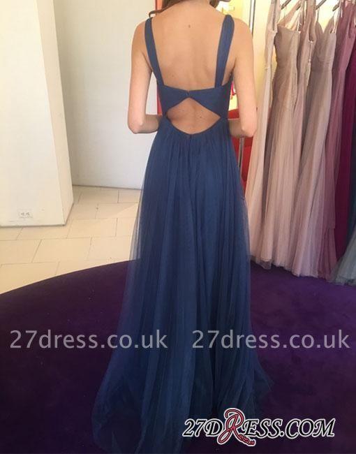 Long V-neck Blue Simple Chiffon Evening Dress UK