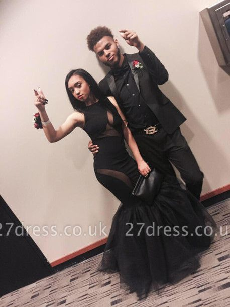 Elegant Black Sleeveless Prom Dress UKes UK Mermaid Tulle Party Gowns