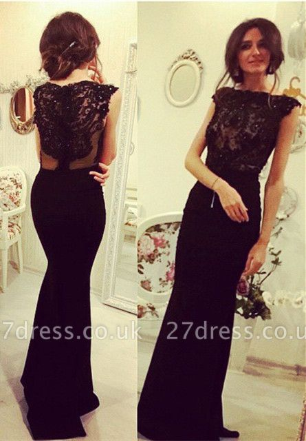 Sexy Black Sleeveless Mermaid Evening Dress UK Lace Appliques Beadings