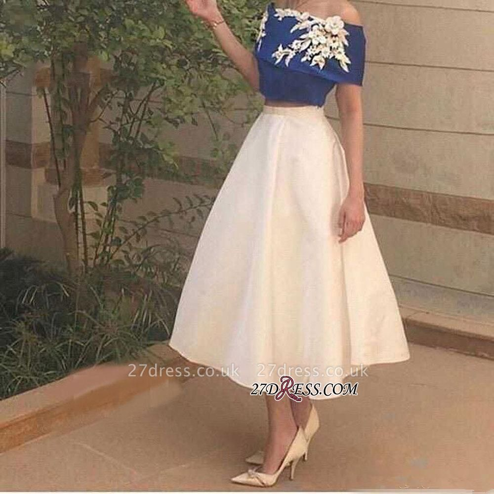 Tea-Length Appliques Off-The-Shoulder Two-Pieces Sexy Prom Dress UK
