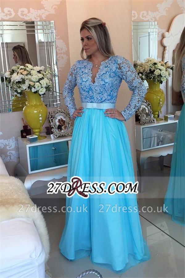 Long Sleeve Lace Evening Dress UK V-neck Blue Chiffon Prom Dress UK