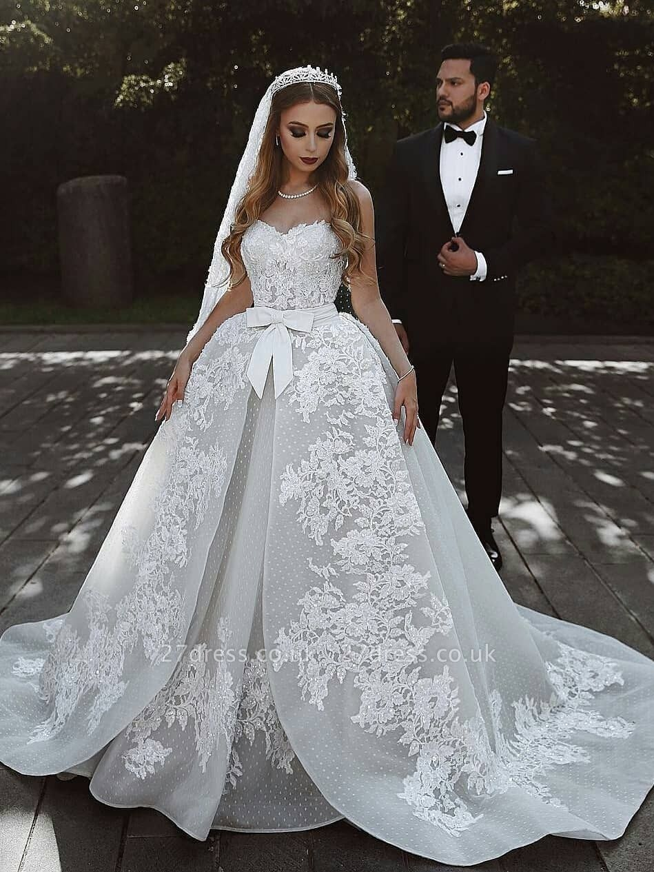 Glamorous Lace Wedding Dresses UK With Bows Sweetheart Sleeveless Over-Skirt Bridal Gowns