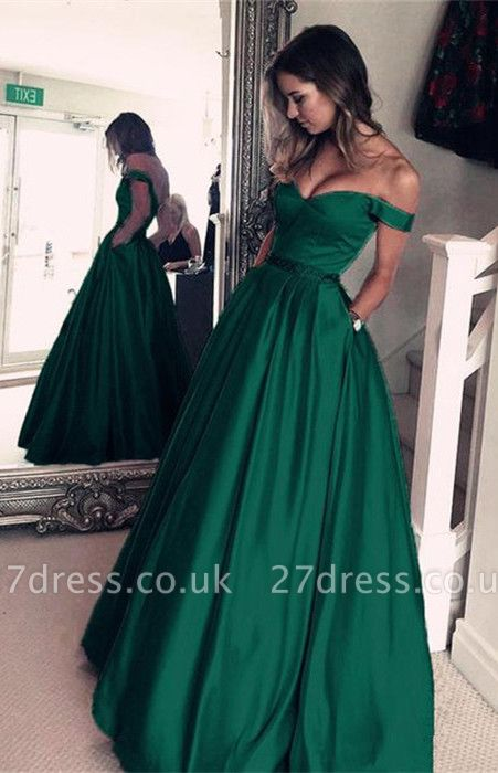 Sexy Off-the-Shoulder Evening Dress UK | Green Long Prom Dress UK