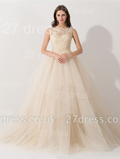 Newest Illusion Princess Tulle Evening Dress UK Lace Ruffles