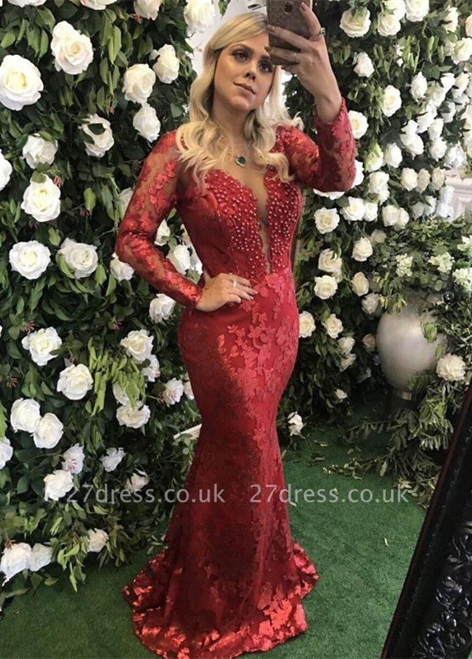Modest Deep V-neck Lace Mermaid Evening Dress UK   Long Sleeve Evening Gown