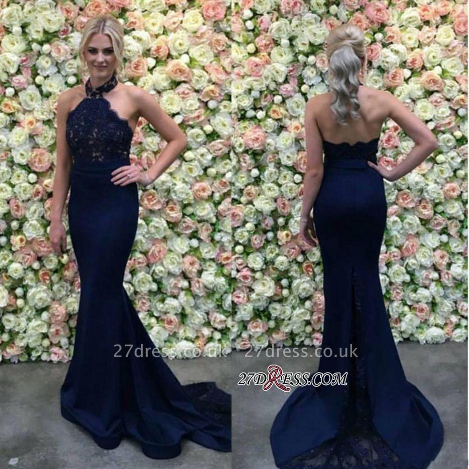 Lace Navy Mermaid Appliques Long Luxury Halter Evening Dress UK