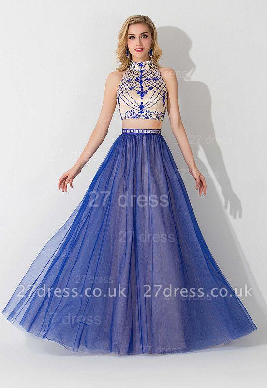 Modern Halter Two Piece Evening Dress UK Floor-length