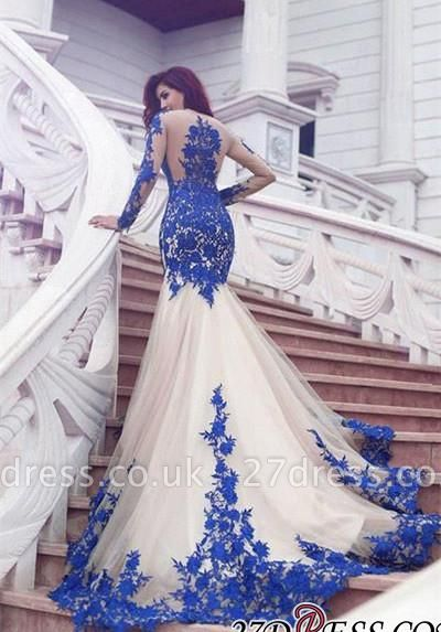 Long-Sleeve Mermaid Gorgeous Appliques Tulle Evening Dress UK