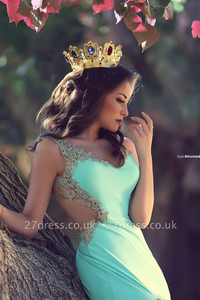 Elegant V-Neck Appliques Prom Dress UKes UK Front Split Floor Length Evening Gowns