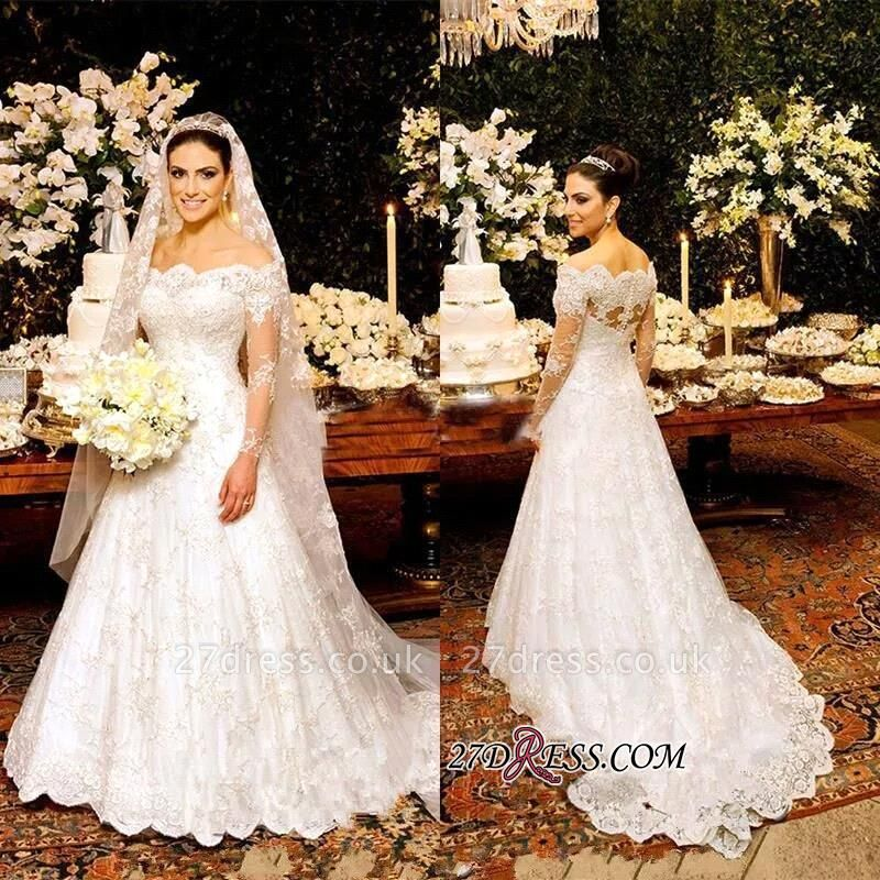 Zipper Lace Button Pretty Long-Sleeve Wedding Dress