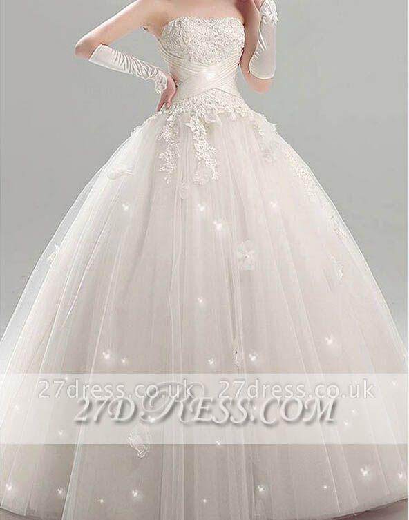Elegant Tulle Strapless Wedding Dresses UK Appliques Bridal Ball Gowns