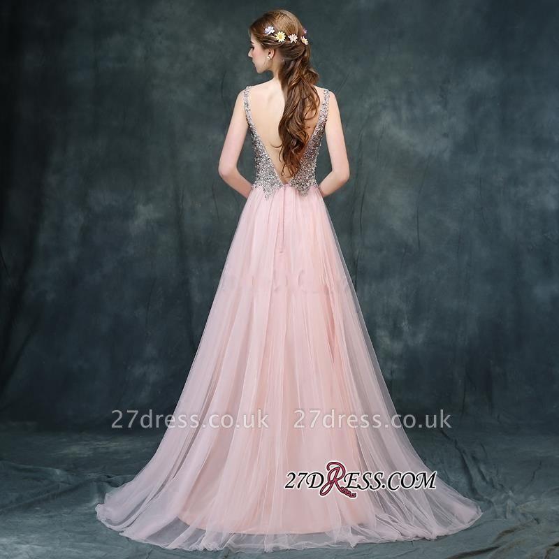 Long Beaded Luxury V-Neck Backless Pink A-line Prom Dress UKes UK BA4011