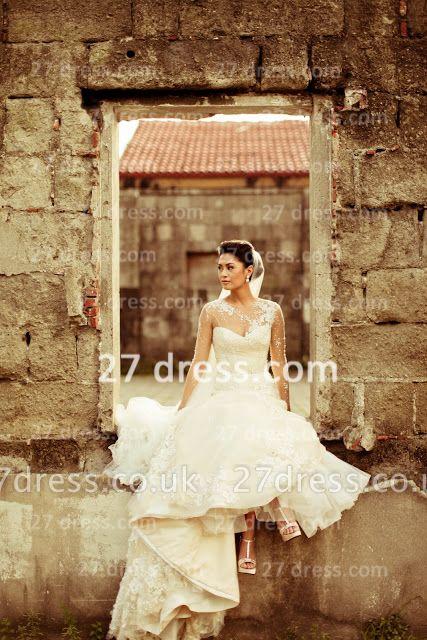 Train Lace Wedding Dresses UK Long Sleeves Elegant Ivory A-line Sheer Cheap Crew Neck Applique Chapel Bridal Gowns