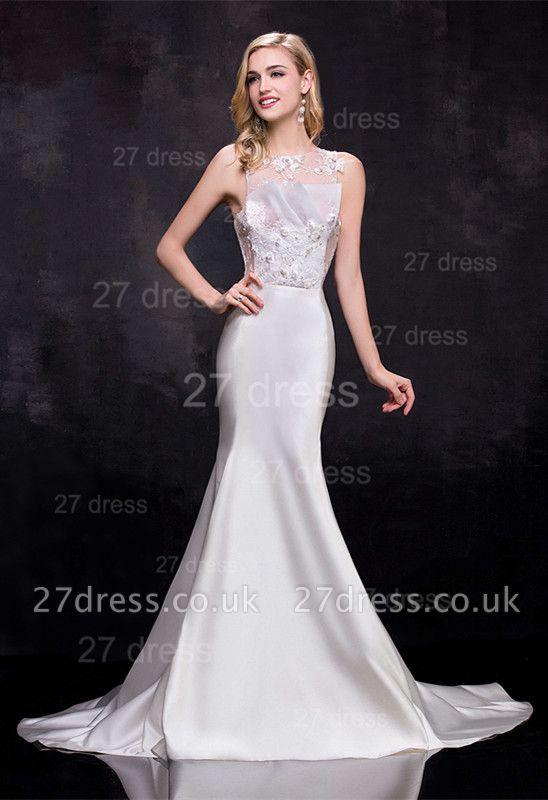 Newest Illusion Sleeveless Sexy Mermaid Wedding Dress Sweep Train