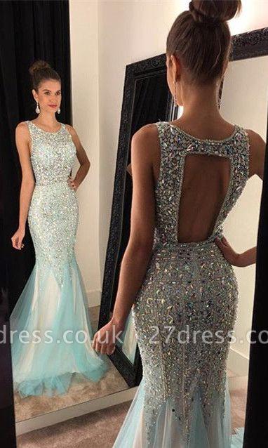 Luxury Crystals Mermaid Jewel Prom Dress UK Sleeveless Sweep Train AP0 BA7309
